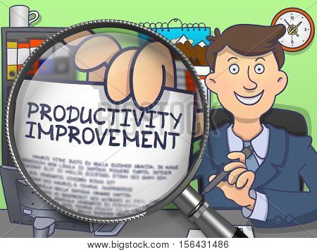 Officeman Holds Out a Concept on Paper Productivity Improvement. Closeup View through Magnifying Glass. Multicolor Doodle Style Illustration.