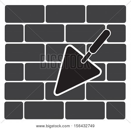trowel icon. brickwork and building trowel. Bricklaying, construction sign.