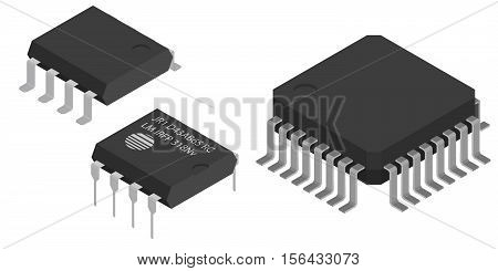 Different Microchips in isometric view. Isometric Electronic components icons set.