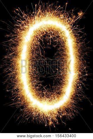 Sparkler Firework Light Alphabet O And Number Zero Isolated On Black