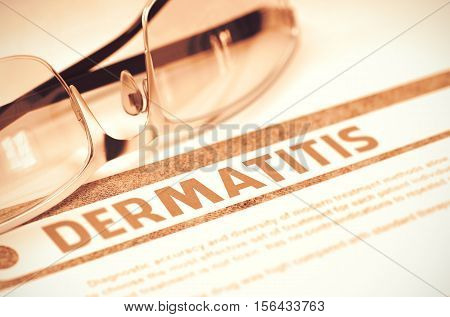 Dermatitis - Printed Diagnosis on Red Background and Spectacles Lying on It. Medicine Concept. Blurred Image. 3D Rendering.