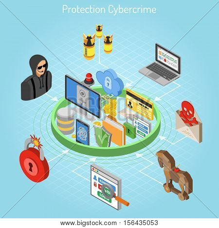 Cyber crime and data hacking and protection concept with isometric flat icons like shield, fingerprint, antivirus, hacker, safe and flasher. vector illustration.