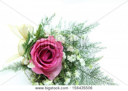 natural pink rose corsage