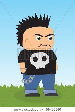 a cute rocker cartoon character vector eps10