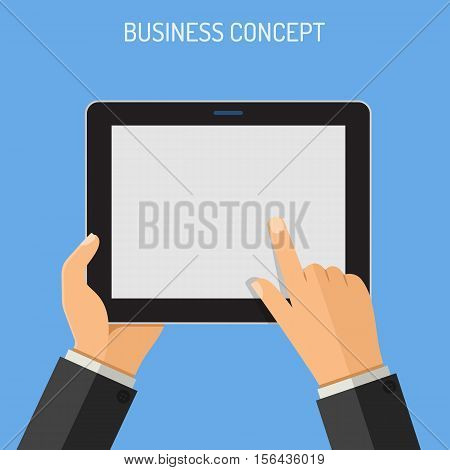 Business Concepts Man holding tablet PC similar to ipad horizontal in hand and touching blank screen. isolated vector flat icon illustration.