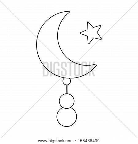 Crescent and Star icon in outline style isolated on white background. Religion symbol vector illustration.