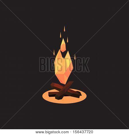 Vector illustration of bonfire. Polygonal style a bonfire
