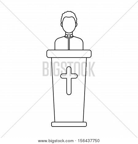 Priest icon in outline style isolated on white background. Religion symbol vector illustration.
