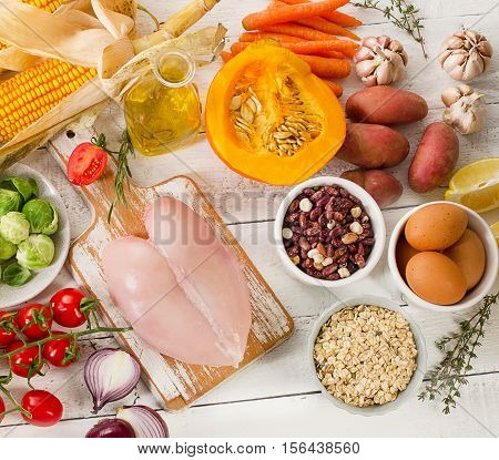 Balanced Diet. Cooking And Food Concept. Healthy Dieting