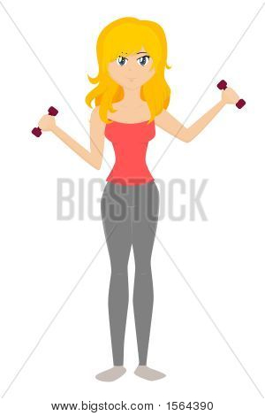 Cartoon Lady Exercising