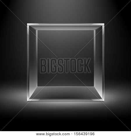 Vector Empty Transparent Glass Box Cube Isolated on Dark Black Background with Backlight