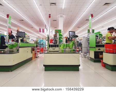 CHIANG RAI THAILAND - NOVEMBER11 : cashdesks in BigC supermarket interior view on November11 2016 in Chiang rai Thailand. BigC is a very big supermarket chain in Thailand.