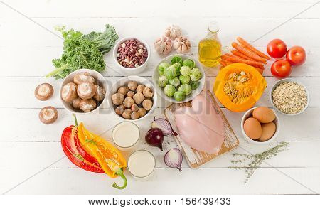 Balanced Diet. Cooking And Healthy Food Concept.