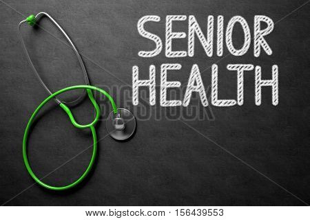 Medical Concept: Senior Health Handwritten on Black Chalkboard. Medical Concept: Top View of Green Stethoscope on Black Chalkboard with Medical Concept - Senior Health. 3D Rendering.