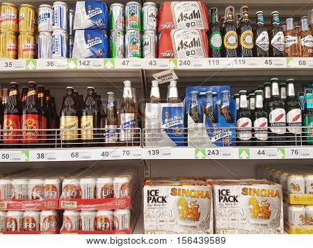 CHIANG RAI THAILAND - OCTOBER 28 : various brand of beers for sale on supermarket stand or shelf in Big C Supercenter on October 28 2016 in Chiang rai Thailand.