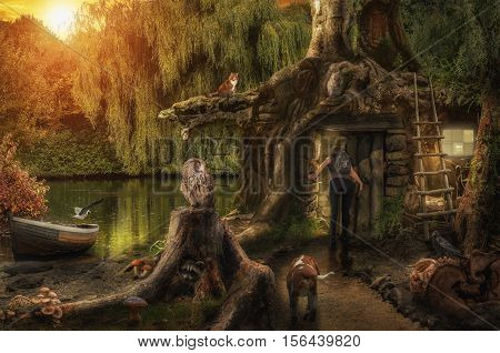 fairy house by a pond hidden in the roots of a large tree