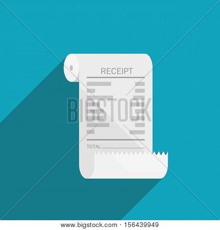 receipt bill roll icon flat design on blue background