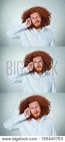 Portrait of puzzled man with long red hair, talking on the phone on a gray background. Collage