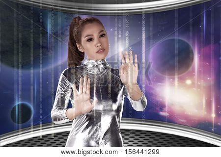 Young Pretty Asian Woman Inside Digital World