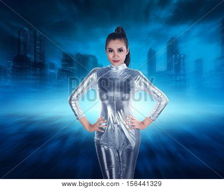 Young Pretty Asian Woman Inside Digital World