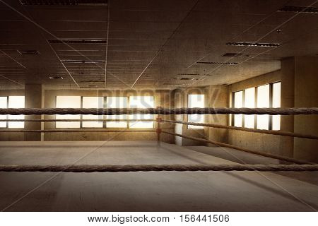 Empty Ring Boxing Arena For Training