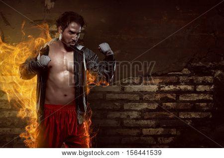 Muscular Asian Boxer Man With Sportswear