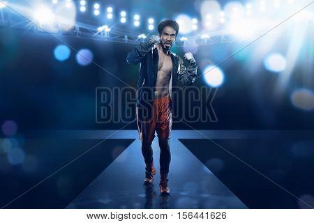 Spotlights Stage Illuminate Asian Boxer Male