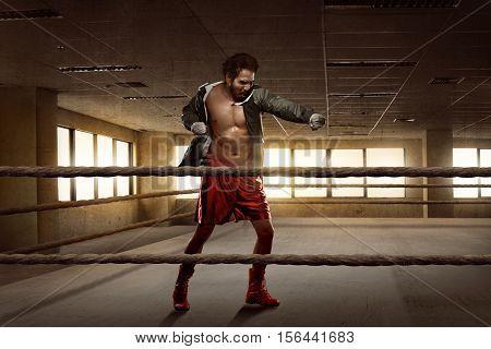 Young Asian Boxer Man Workout Punching