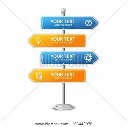 Road and Street Sign Menu Layout for Your Business. Vector illustration