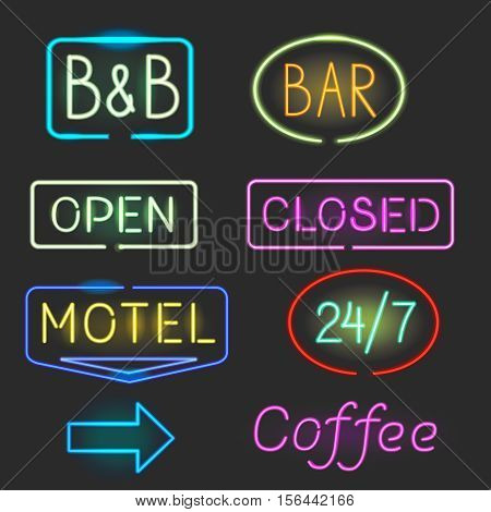 Neon sign icon set with flash light for motel, bar. Open, closed vector illustration