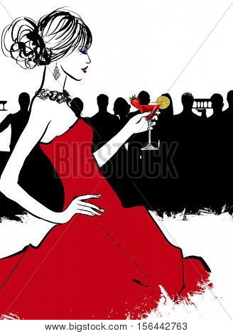 Young woman in a bar enjoying the cocktail party - vector illustration