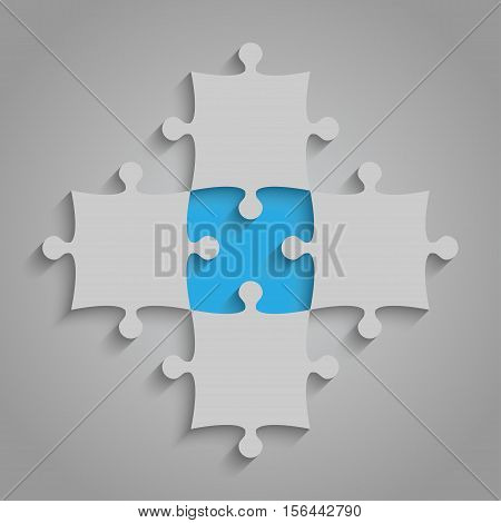 4 Grey and 1 Blue Puzzles Pieces Arranged in a Square - JigSaw - Vector Illustration. Blank Template or Cutting Guidelines. Vector Background.