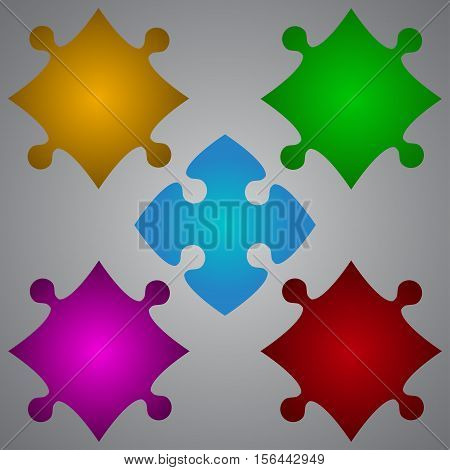 Color 5 Puzzles Pieces Arranged in a Square - JigSaw - Vector Illustration. Blank Template or Cutting Guidelines. Vector Background and Element.