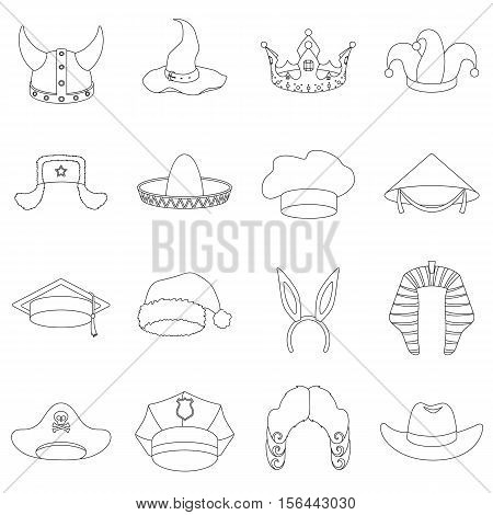Hats set icons in outline style. Big collection of hats vector symbol stock
