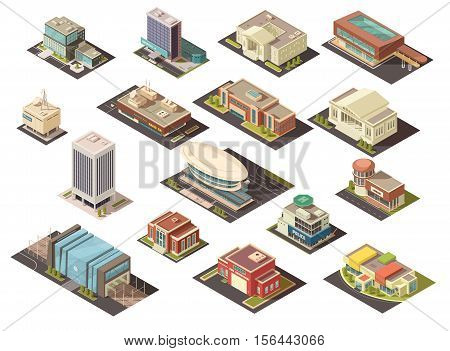 Government building isometric set with state institutions symbols isolated vector illustration