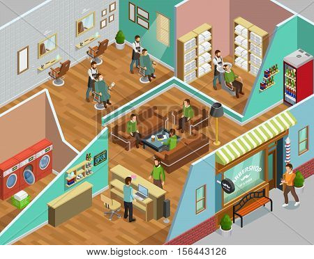Barbershop interior with head washing laundry and reception symbols isometric vector illustration
