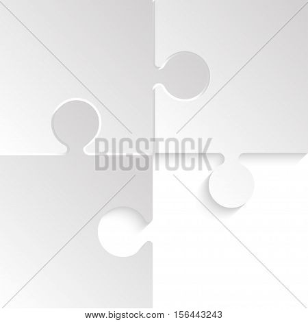 3 Grey Puzzles Pieces Arranged in a Square - JigSaw - Vector Illustration. Blank Template or Cutting Guidelines. Vector Background.