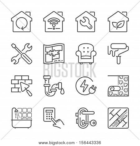 home improvement and repair thin line icon set black color isolated