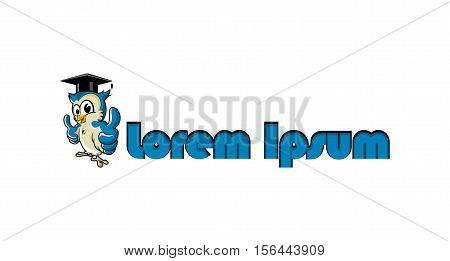 Cute owl teacher icon/ vector logo design
