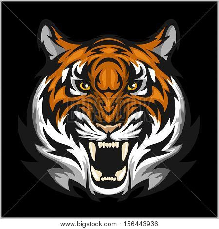 Tiger anger. Vector illustration of a tiger head on a black bacground poster