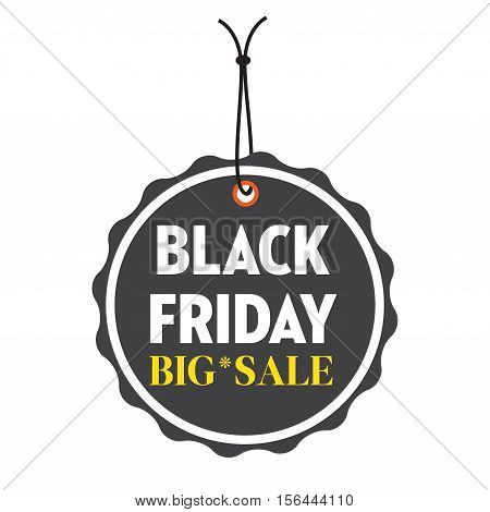 Isolated black tag with the text Black Friday, big sale, written in white and yellow