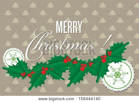 Colorful background with mistletoe, decorative elements and the text Merry Christmas written in white
