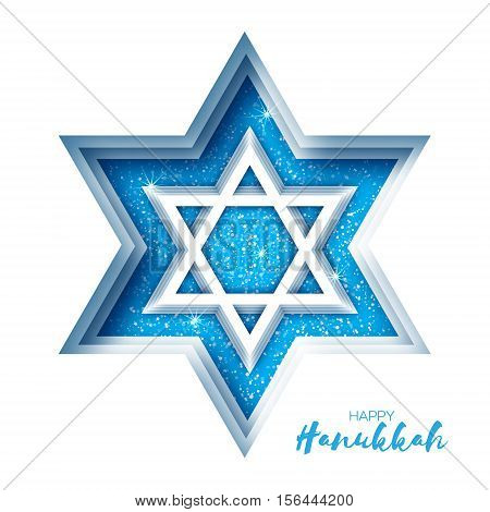 Origami Star of David. Happy Hanukkah. Shining papercraft stars. Greeting card for the Jewish holiday on white background. Vector illustration.