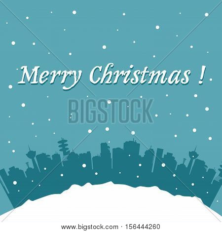 Christmas postcard with cityscape and snowflakes falling from the skies