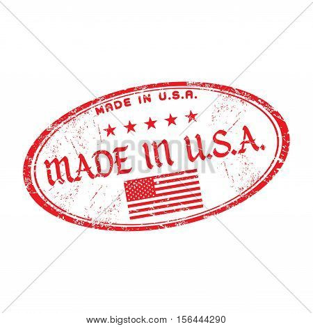 Red grunge rubber stamp with the text made in USA written inside the stamp
