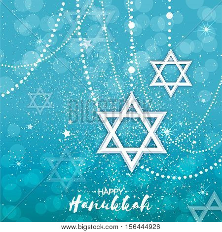 Origami Star of David. Happy Hanukkah. Shining papercraft stars. Greeting card for the Jewish holiday on blue background with garland. Vector illustration.