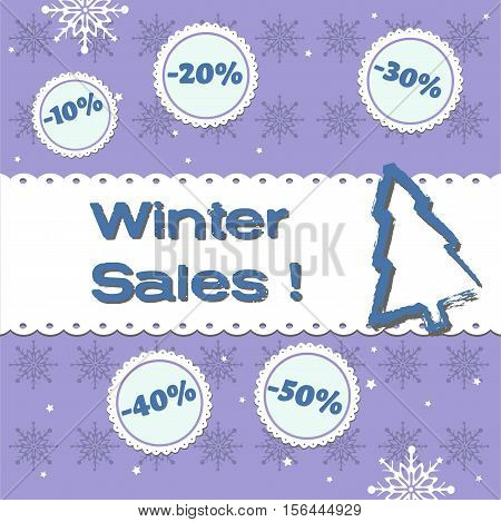 Abstract colorful background with winter elements, small fir tree and the text winter sales written in blue