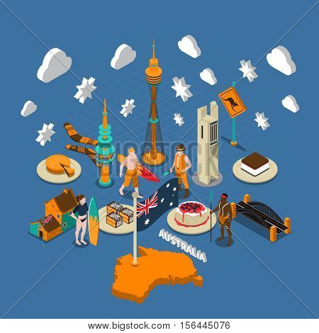 Australian national cultural isometric symbols composition with map flag delicious desserts aborigine and landmarks poster vector illustration