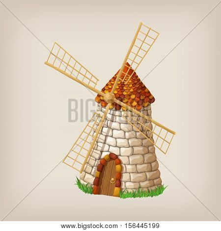 Traditional old windmill building single object color painted concept. Vector illustration