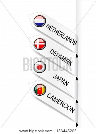 Vector navigation template with flags - illustration